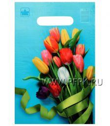 БУТИК, вырубная ручка, 20х30 (30мкм) ПВД, ТИКО Тюльпаны на голубом