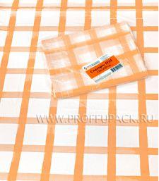 Скатерть 120х220 с рисунком Клетка оранжевая