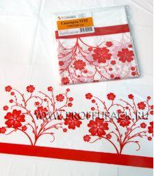 Скатерть 120х220 с рисунком Кайма красная