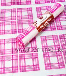 Скатерти 110х180 PR (рулон 5 шт.) Клетка розовая