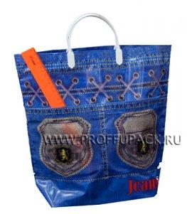 Хозяйственная сумка С КАРМАНАМИ, П/Э 37х37+10 (150мкм) Джинс стайл