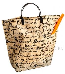 Хозяйственная сумка С КАРМАНАМИ, П/Э 37х37+10 (150мкм) Подписи городов