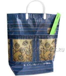 Хозяйственная сумка С КАРМАНАМИ, П/Э 37х37+10 (150мкм) Джинс с цветами