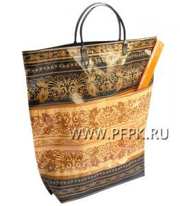 Хозяйственная сумка С КАРМАНАМИ, П/Э 37х37+10 (150мкм) Золотой