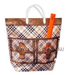 Хозяйственная сумка С КАРМАНАМИ, П/Э 37х37+10 (150мкм) Клетка