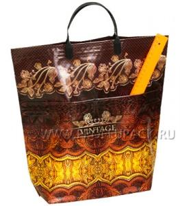 Хозяйственная сумка С КАРМАНАМИ, П/Э 37х37+10 (150мкм) Винтаж