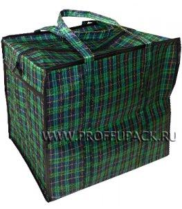 Хозяйственная сумка с молнией, №2 (44х40+20) ШОТЛАНДКА Зеленая