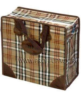 Хозяйственная сумка с молнией, №1 (40+20x36+20) С РИСУНКОМ Темная клетка (арт. 2001)