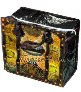 Хозяйственная сумка с молнией, №1 (40+20x36+20) С РИСУНКОМ Карта (арт. 401)