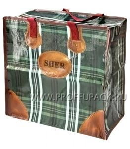 Хозяйственная сумка с молнией, №1 (40+20x36+20) С РИСУНКОМ Кофейная клетка (арт. 2101)