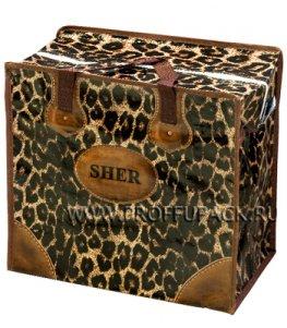 Хозяйственная сумка с молнией, №1 (40+20x36+20) С РИСУНКОМ Леопард (арт. 901)