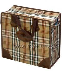 Хозяйственная сумка с молнией, №2 (46+20х41+20) С РИСУНКОМ Темная клетка  (арт. 2002)
