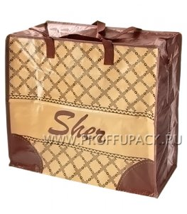 Хозяйственная сумка с молнией, №2 (46+20х41+20) С РИСУНКОМ Шер бежевая  (арт. 3202)