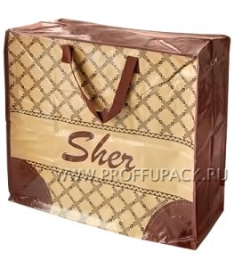 Хозяйственная сумка с молнией, №3 (53+29х48+29) С РИСУНКОМ Шер бежевая (арт. 3203)