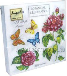 Салфетки бум. DESNA BOUQUET 33х33, 2-сл.,с рис. (20 листов) Бабочки и розы