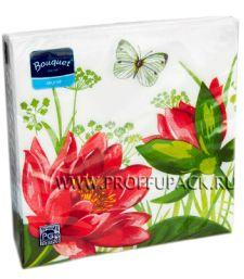 Салфетки бум. DESNA BOUQUET 33х33, 2-сл.,с рис. (20 листов) Водяная лилия