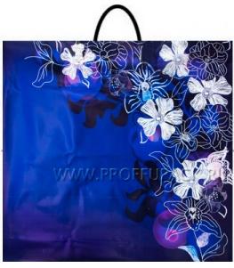 Пакет с пласт.руч. ФОТОПЕЧАТЬ 35х38 (100 мкм) РП. Цветы на синем МКН-051