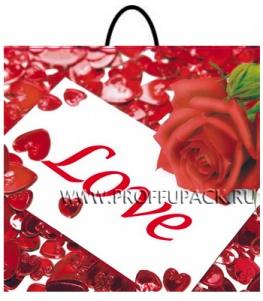 Пакет с пласт.руч. ФОТОПЕЧАТЬ 35х38 (100 мкм) РП. Роза и любовь МКН-012