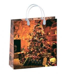 Пластиковые новогодние сумки для подарков