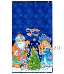 Пакет НГ прозр. с рис. + мет. 20х35 Новогодние чудеса [100/2000]
