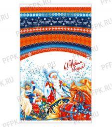 Пакет НГ прозр. с рис. + мет. 30х50 Снежная тройка [100/2000]