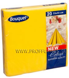 Салфетки бум. DESNA BOUQUET COLOR 33х33, 2-сл. (20 листов) Желтые [12/12]
