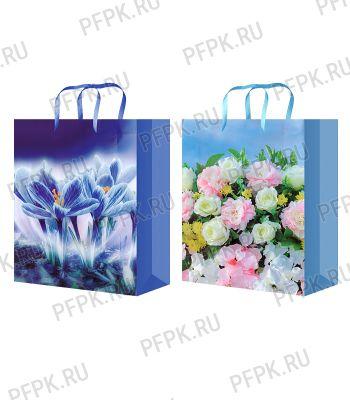 Сумочка бумажная 32х44х10 МЕГА (XL) XL-512/513 (Цветы) [10/200]