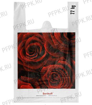Майка КЛУБНИКА 37+16х60 ПНД (40мкм) SERIKOFF Розы(белая) [100/1000]