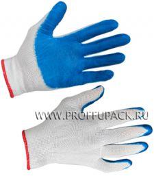Перчатки нейлоновые с нитриловым обливом (25 гр) Белые с синим обливом [12/960]