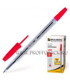 Ручка шариковая BRAUBERG Line (Лайн) 1мм Красная (141-341) [50/1000]