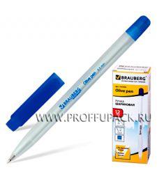 Ручка масляная BRAUBERG Olive (Олив) Синяя (141-476) [12/360]