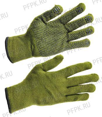 Перчатки зимние акриловые ТОЧКА Зелёные [10/100]