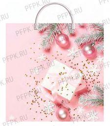 НГ Пакет с пласт. ручкой 36х37 (100 мкм) ПВД, ТИКО Нежно-розовый [10/100]