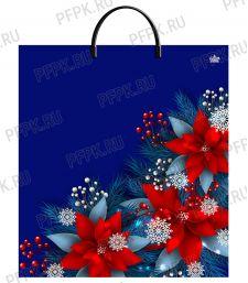 НГ Пакет с пласт. ручкой 40х44 (100 мкм) ПВД, ТИКО Рождественский цветок [10/100]