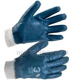 Перчатки х/б с нитриловым обливом МБС (манжет) Синий облив [12/144]
