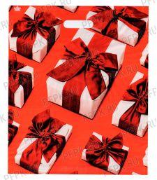 БРОНЗ, вырубная ручка, 38х45+3 (60мкм) ГЛЯНЕЦ, ТИКО Подарки с красными бантами [50/500]