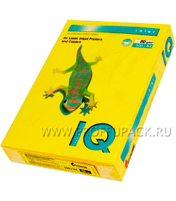 Бумага офисная цветная IQ А4, 500л. (интенсив) Ярко-жёлтая (124-065/110-666 / IG50) [1/5]
