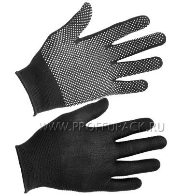 Перчатки нейлоновые с покрытием ТОЧКА Черные [12/1200]