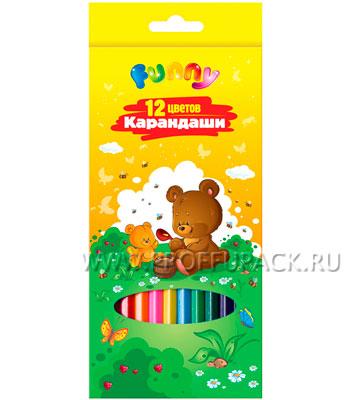 Карандаши цветные (12 цветов) Зверята (171-429 / CP12_117) [12/240]