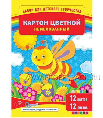 Картон цветной А4 (12 цветов 12 листов) (220-681/ Нкн12-12_6960) [1/30]