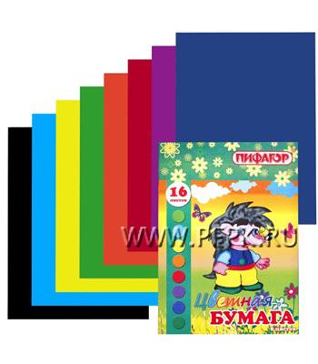 Бумага цветная А4 двухсторонняя (8 цветов 16 листов) Пифагор (123-523) [1/60]