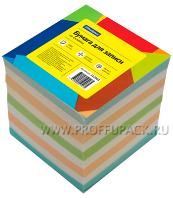 Блок для записей 9х9х9 проклееный, цветной (162-003 / КБ9-10 Цп) [1/12]