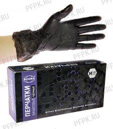 Перчатки виниловые черные AVIORA (уп. 100 шт.) M (402-735) [1/10]