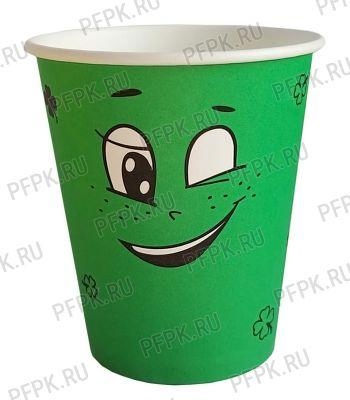 Стакан 250 мл бумажный Emoji зеленый [50/1000]