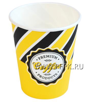 Стакан 250 мл бумажный Кэнди кап желто-черный [50/1250]