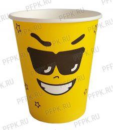 Стакан 250 мл бумажный Emoji желтый [50/1000]