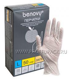 Перчатки латексные смотровые медицинские опудренные (уп. 100 шт.) L (Benovy) [1/10]