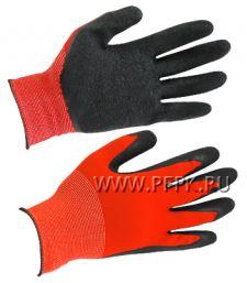 Перчатки нейлоновые с вспененным латексом Красные с черным обливом [1/250]