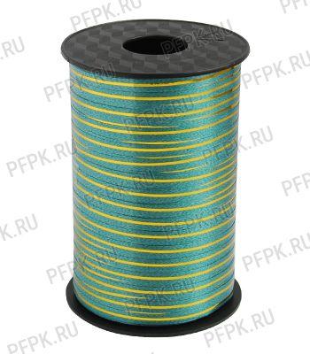 Лента на бобине цветная с золотой полосой 0,5см х 250м FIESTA Зеленая S-02 [1/60]