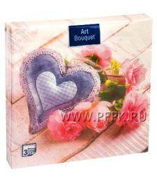 Салфетки бум. DESNA BOUQUET 33х33, 3-сл.,с рис. (20 листов) Сердечко с розами [12/12]